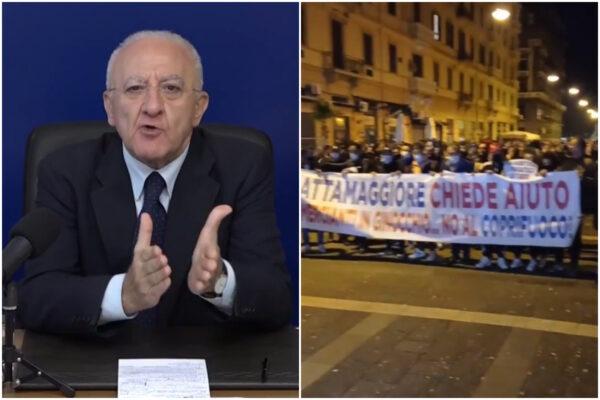"""Rivolte contro il Lockdown in Campania, De Luca annuncia: """"Piano di aiuti su tasse, affitti e utenze"""""""