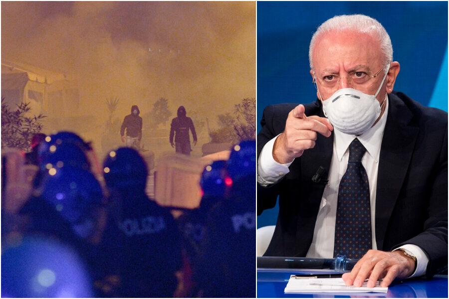 """Pugno duro di De Luca: """"Continuiamo nostra linea di rigore, scontri organizzati da delinquenti"""""""