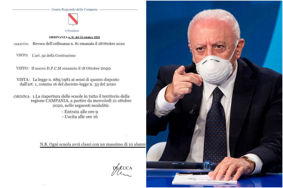 """Campania, riaprono le scuole ma è una fake news. L'ira di De Luca: """"Denuncio"""""""