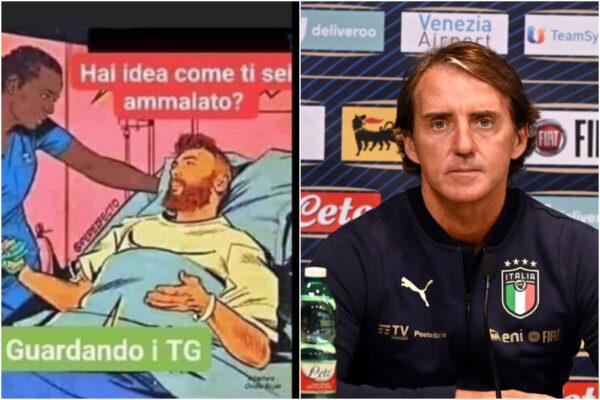 Roberto Mancini e la vignetta negazionista sul Coronavirus, per il Ct della Nazionale ci si ammala guardando troppi Tg