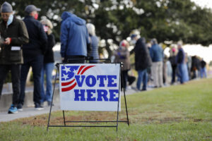 Voters wait for the polls to open on Election Day, at Sunrise Presbyterian Church Tuesday, Nov. 3, 2020, in Sullivan's Island, S.C. (AP Photo/Mic Smith)