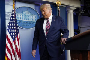 President Donald Trump leaves the podium after speaking at the White House, Thursday, Nov. 5, 2020, in Washington. (AP Photo/Evan Vucci)