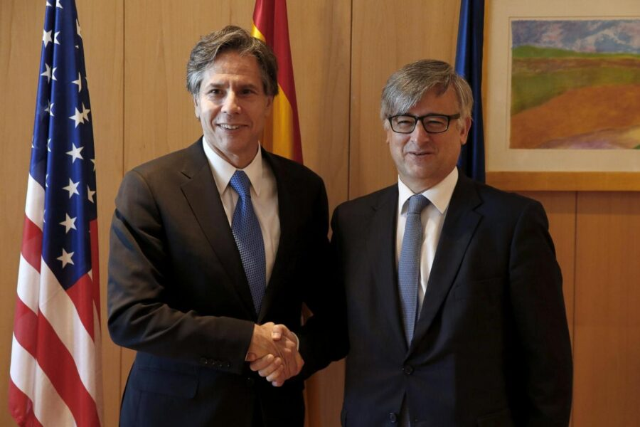 US Deputy Secretary of State, Antony Blinken (L) shakes hands wirh Spanish Secretary of State for Foreign Affairs, Ignacio Ybanez, during their meeting in Madrid, Spain, 27 July 2015. Blinken started a two-day long official visit to the country aimed to discuss the fight against terrorism and the joint economic opportunities with Spanish Government's officers. Blinken's visit takes place after US Secretary of State John Kerry had to cancel his travel due to health reasons. EFE/J. J. Guillen