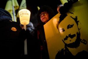 Foto Claudio Furlan – LaPresse 25-01-2019 Milano ( Italia ) Cronaca  Fiaccolata per i 3 anni dalla morte di Giulio Regeni in Piazza Scala