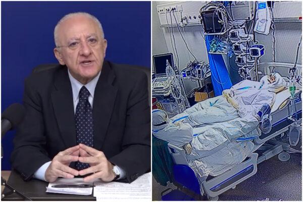 """""""Sanitari con le buste della spazzatura ai piedi? Notizia falsa"""": De Luca smentisce i rianimatori dell'Ospedale del Mare"""