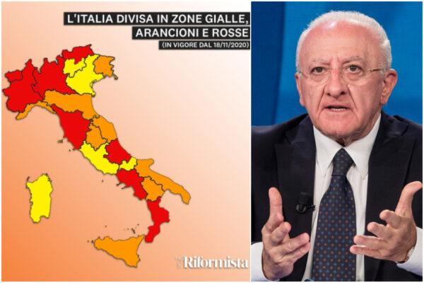 L'Italia si divide sulla zona rossa, in Campania De Luca spopola sempre sul web