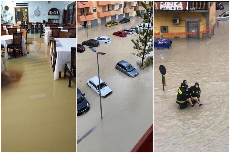 """Nubifragio a Crotone, persone intrappolate in auto e strade allagate: """"Non uscite di casa"""""""