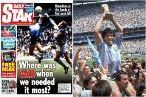 Il Daily Star infanga la memoria di Maradona con una prima pagina che recrimina ancora la 'mano de Dios'