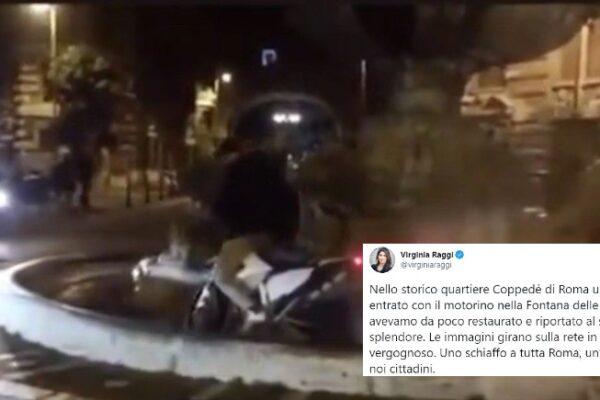 La gaffe di Virginia Raggi: pubblica il video di una moto nella Fontana delle Rane ma è vecchio di anni