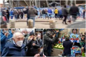 Maradona, il muro azzurro del pianto più forte della pioggia: l'omaggio di Ferlaino