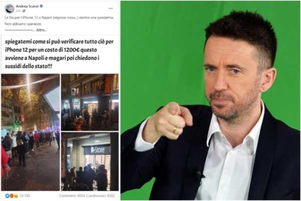 """Scanzi rilancia la fake news su Napoli: """"File e assembramenti per l'iPhone 12"""""""