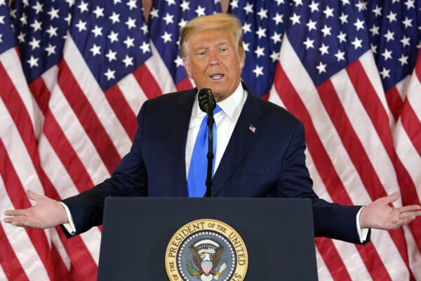 President Donald Trump speaks in the East Room of the White House, early Wednesday, Nov. 4, 2020, in Washington. (AP Photo/Evan Vucci)
