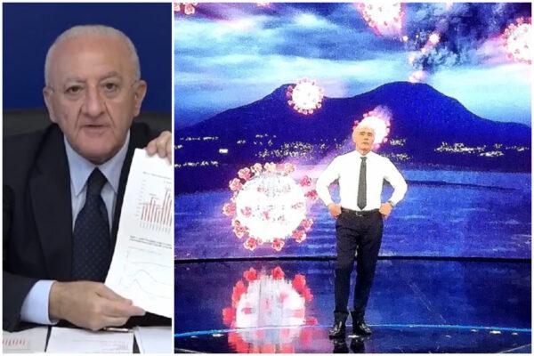 """De Luca e i dati falsi di Giletti a 'Non è l'Arena': """"Ecco tutte le spese, noi casa di vetro contro lo sciacallaggio"""""""