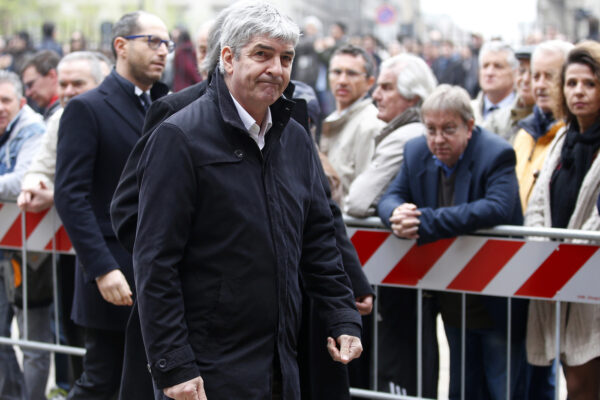 FILE – In this Tuesday, April 5, 2016 filer, former soccer player Paolo Rossi attends the funeral of former Italy coach Cesare Maldini funeral, at Milan's Sant'Ambrogio's Basilica, Italy. Rossi, the star of Italy's World Cup-winning team in 1982, has reportedly died at age 64. He was the leading scorer in the '82 World Cup and was also FIFA's player of the year. (AP Photo/Antonio Calanni, File )