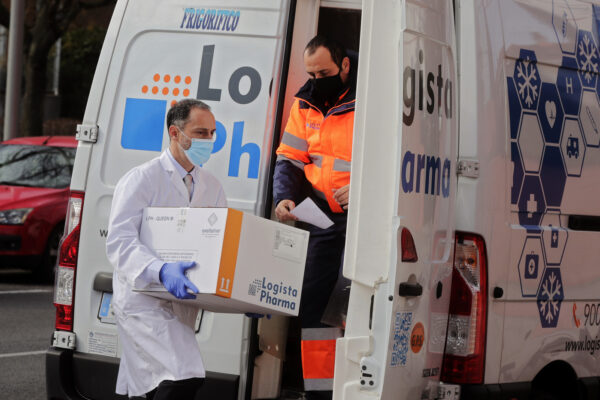 A box of some of the the first Pfizer coronavirus vaccines arrive at a nursing home in Madrid, Spain, Sunday Dec. 27. 2020. Spain plans to receive over 4.5 million doses of the vaccine over the next three months, enough it says to immunize just over 2.2 million people. The government estimates that this first phase will be enough to cover nursing home residents and workers, followed by health workers in general and people with disabilities. (AP Photo/Paul White)