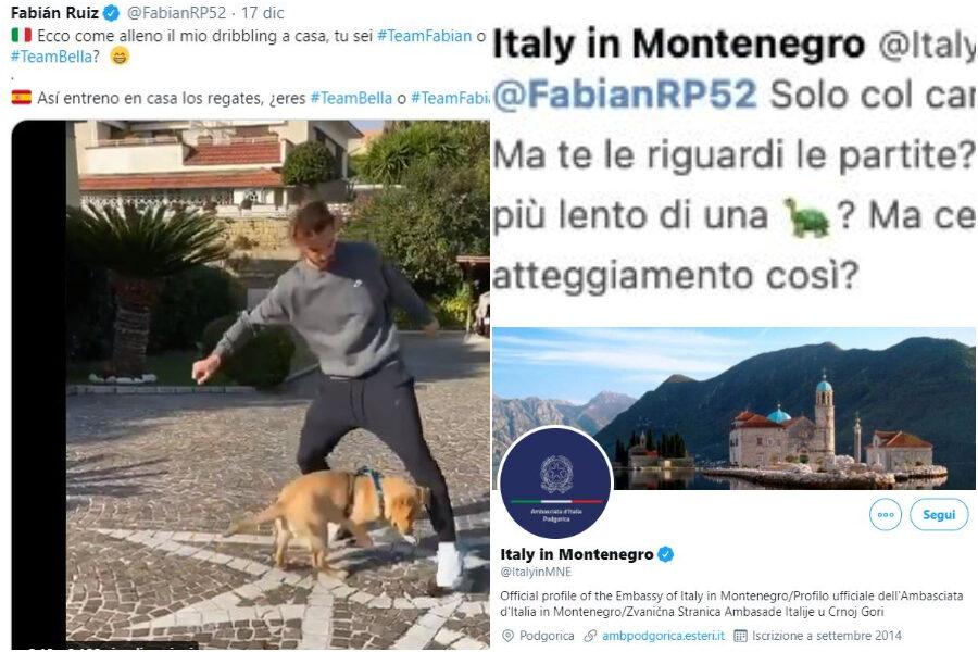 """Fabian Ruiz e il tweet dell'ambasciata italiana in Montenegro che lo attacca: """"Solo col cane puoi giocare"""""""