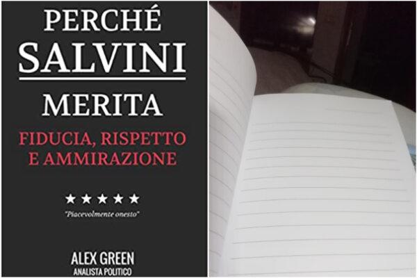 """""""Perché Salvini merita"""", su Amazon il libro bestseller: ma sono tutte pagine vuote"""