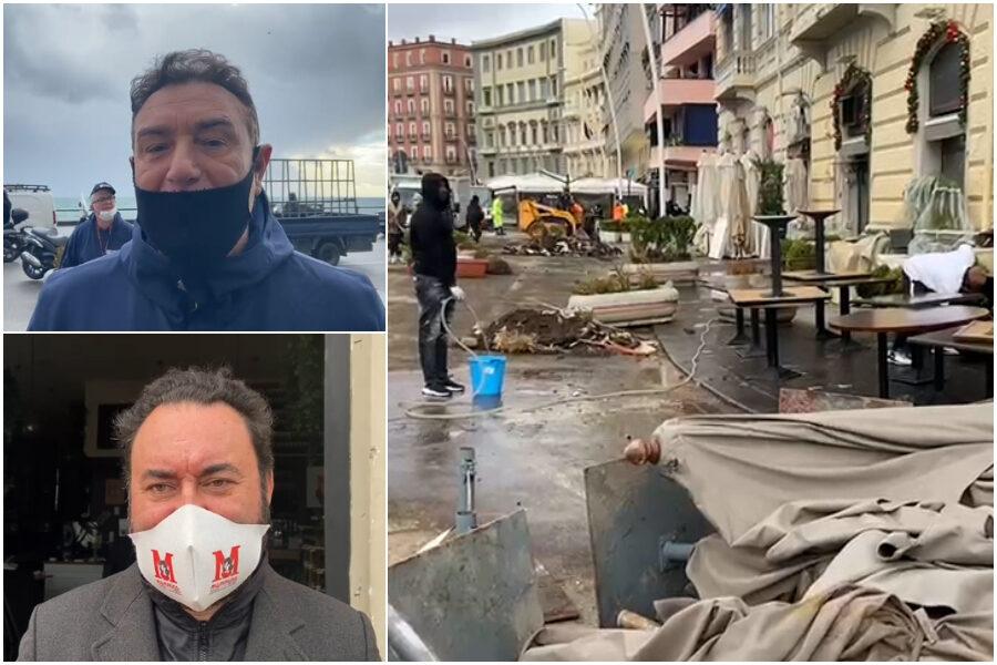 'Tsunami' travolge il lungomare di Napoli e distrugge i ristoranti: onde sui palazzi fino al primo piano