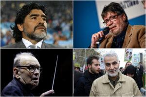Nella foto Diego Armando Maradona, lo scrittore Luis Sepúlveda, il compositore Ennio Morricone e il generale iraniano Qasem Soleimani