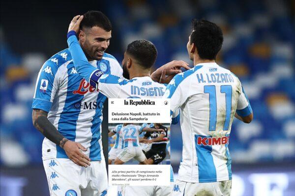"""""""Delusione Napoli, battuto in casa della Sampdoria"""", gaffe di Repubblica diventa virale: la spiegazione"""