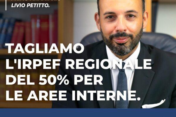 """Aree interne della Campania, """"tagliamo l'Irpef del 50%"""". La proposta di Petitto"""