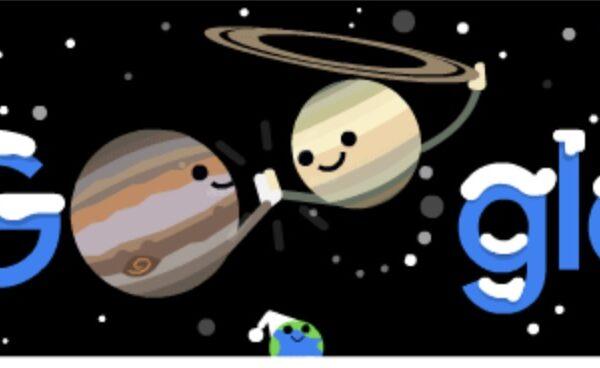 Congiunzione Giove Saturno, il doodle di Google che annuncia la stella cometa