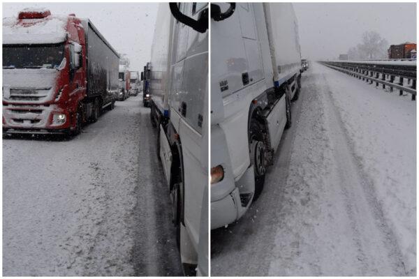 Tir bloccati dalla neve al nord, disagi e traffico interdetto: mezzi al lavoro