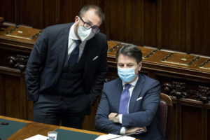 Foto Roberto Monaldo / LaPresse 02-11-2020 Roma Politica Camera dei Deputati – Comunicazioni del Presidente del Consiglio Giuseppe Conte sull'emergenza Covid-19 Nella foto Alfonso Bonafede, Giuseppe Conte  Photo Roberto Monaldo / LaPresse  02-11-2020 Rome (Italy)  Chamber of Deputies – Communications from Prime Minister Giuseppe Conte on the Covid-19 emergency In the pic Alfonso Bonafede, Giuseppe Conte