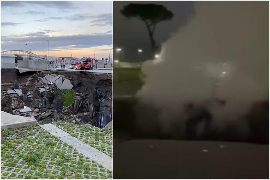 Voragine davanti l'ospedale del Mare di Napoli, evacuato il Covid residence