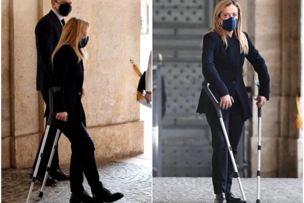Giorgia Meloni in stampelle al Quirinale, cos'è successo alla leader di Fratelli d'Italia