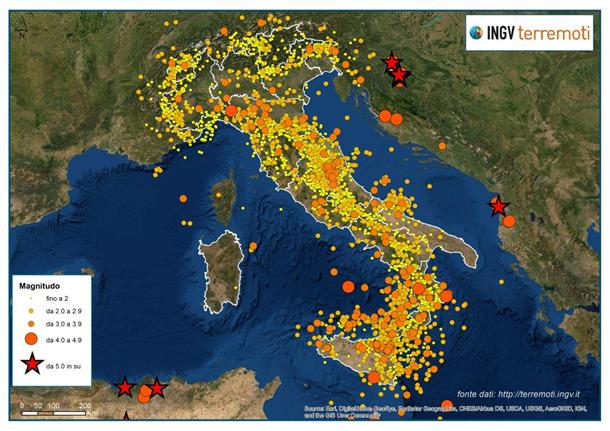 Terremoti, nel 2020 in Italia 45 eventi sisimici al giorno: uno ogni ora e mezza
