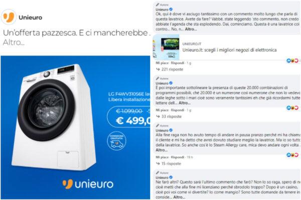 Il post del SMM di Unieuro sulla lavatrice diventa un successo virale
