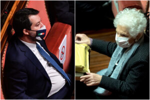 """""""Senatori a vita non muoiono mai"""", Salvini cita Grillo e scatena la bagarre in Aula"""
