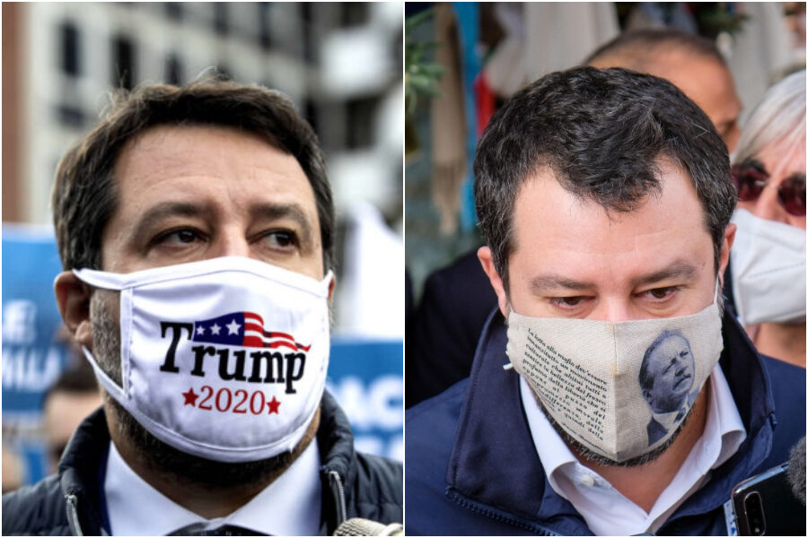 Da Trump a Borsellino, la mascherina di Matteo Salvini ai tempi del marketing social