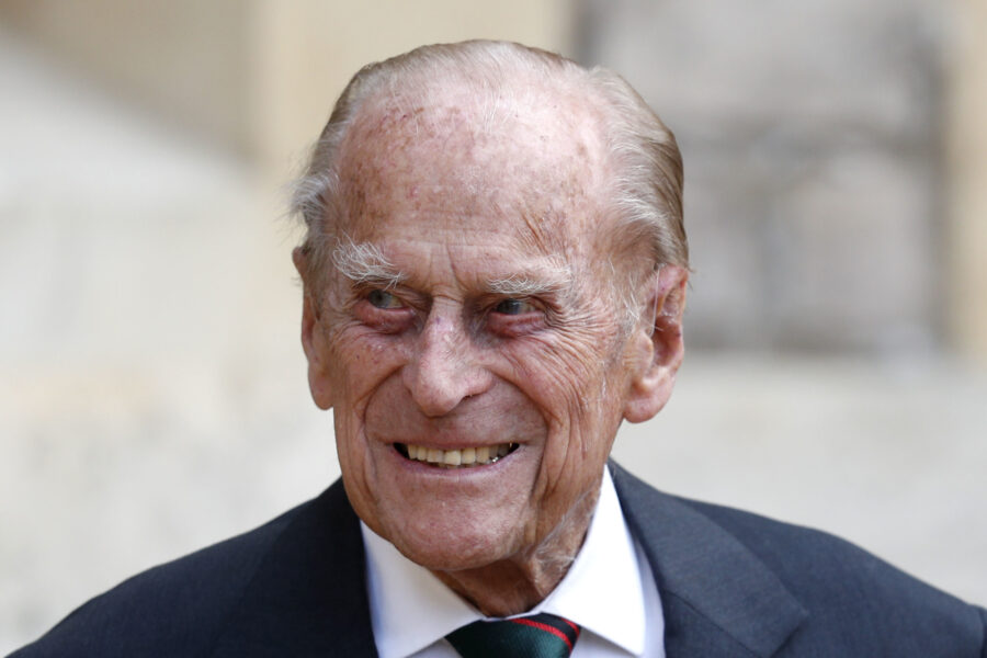 Prince Philip The Duke of Edinburgh at Windsor Castle for a ceremony for the transfer of the Colonel-in-Chief of the Rifles from the Duke to Camilla Duchess of Cornwall, at Windsor Castle, England, Wednesday July 22, 2020. The ceremony will begin at Windsor Castle where the Assistant Colonel Commandant, Major General Tom Copinger-Symes, will offer the salute and thank the Duke for his 67 years of support and service to The Rifles, and their forming and antecedent Regiments. The ceremony will continue at Highgrove House, with Camilla The Duchess of Cornwall, where she will be addressed by The Rifles' Colonel Commandant. (Adrian Dennis/Pool via AP)