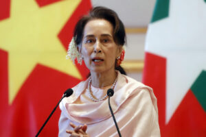 FILE – In this Dec. 17, 2019, file photo, Myanmar's leader Aung San Suu Kyi speaks during a joint press conference with Vietnam's Prime Minister Nguyen Xuan Phuc after their meeting at the Presidential Palace in Naypyitaw, Myanmar. Reports says Monday, Feb. 1, 2021 a military coup has taken place in Myanmar and Suu Kyi has been detained under house arrest. (AP Photo/Aung Shine Oo, File)