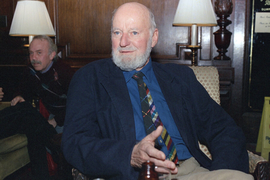 FILE – Author Lawrence Ferlinghetti appears in Oct. 8, 1988. Ferlinghetti, a poet, publisher and bookseller has died in San Francisco at age 101. His son says Ferlinghetti died at home on Monday, Feb. 22, 2021. Ferlinghetti helped launch and perpetuate the Beat movement. He was known for his City Lights bookstore in San Francisco, an essential meeting place for the Beats and other bohemians in the 1950s and beyond. (AP Photo/Frankie Ziths, File)