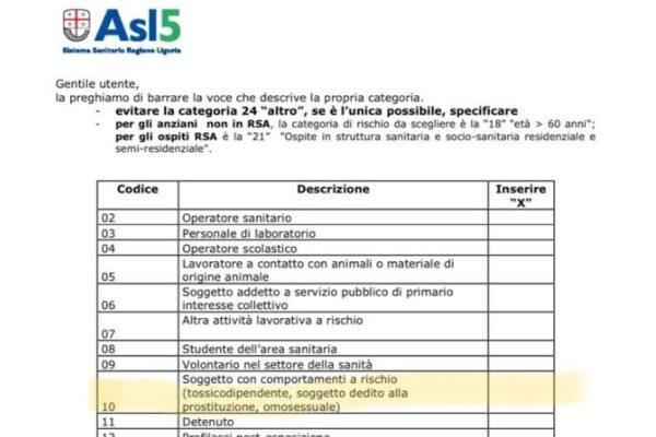 """Vaccino, per l'Asl di La Spezia """"omosessuali tra i soggetti con comportamenti a rischio"""": ma il documento è del Ministero della Salute"""