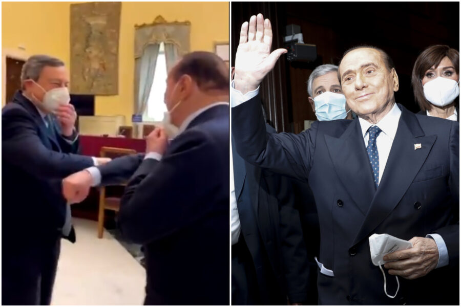 """""""Grazie di essere venuto"""", Draghi sorride a Berlusconi: l'ex premier baciato e coccolato dai suoi"""