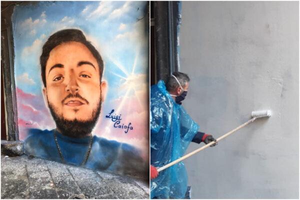 Luigi Caiafa, cancellato il murales dopo 4 mesi e un morto ammazzato: lo Stato si rivede a Forcella