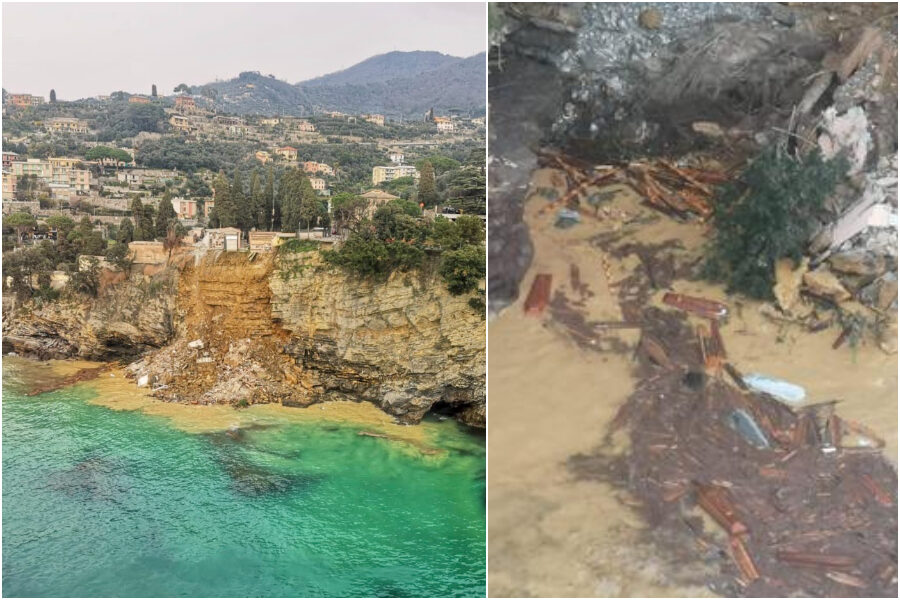 Frana parte del cimitero di Camogli, 200 bare finiscono in mare