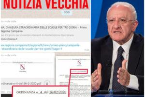"""Scuola, la fake news sulla chiusura straordinaria, De Luca: """"Fate attenzione"""""""
