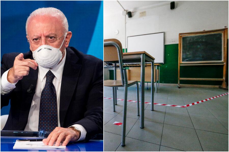 """Scuole chiuse, De Luca: """"Ci sono giovani in terapia intensiva, volevamo vaccinare over 16 ma dosi Pfizer limitate"""""""
