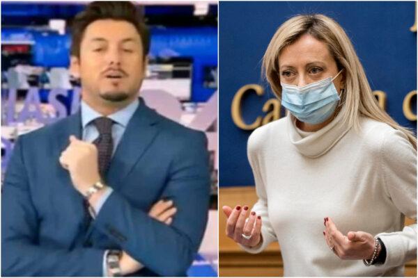 """Insulti a Giorgia Meloni, il compagno giornalista la difende in diretta TV: """"Sono fiero di lei"""""""