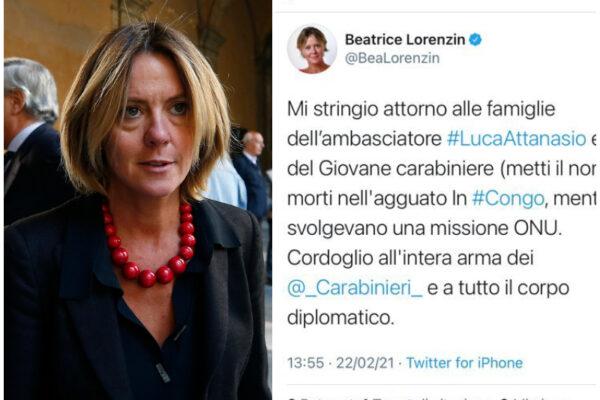 """Il tweet di Lorenzin sull'ambasciatore Attanasio e il carabiniere morti in Congo: """"(metti il nome)"""""""