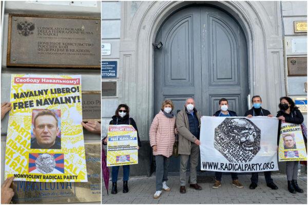 """""""Liberate Navalny"""", in Italia sit-in del partito radicale all'esterno dei consolati russi"""