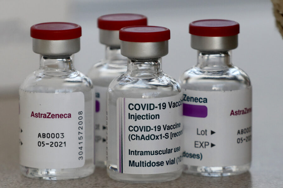 FILE – In this Feb. 5, 2021, file photo, vials AstraZeneca vaccine ready to be used at the Wellcome Centre in London. In recent days, countries including Denmark, Ireland and Thailand have temporarily suspended their use of AstraZeneca's coronavirus vaccine after reports that some people who got a dose developed blood clots, even though there's no evidence that the shot was responsible. The European Medicines Agency and the World Health Organization say the data available do not suggest the vaccine caused the clots. Britain and several other countries have stuck with the vaccine. (AP Photo/Frank Augstein, File)