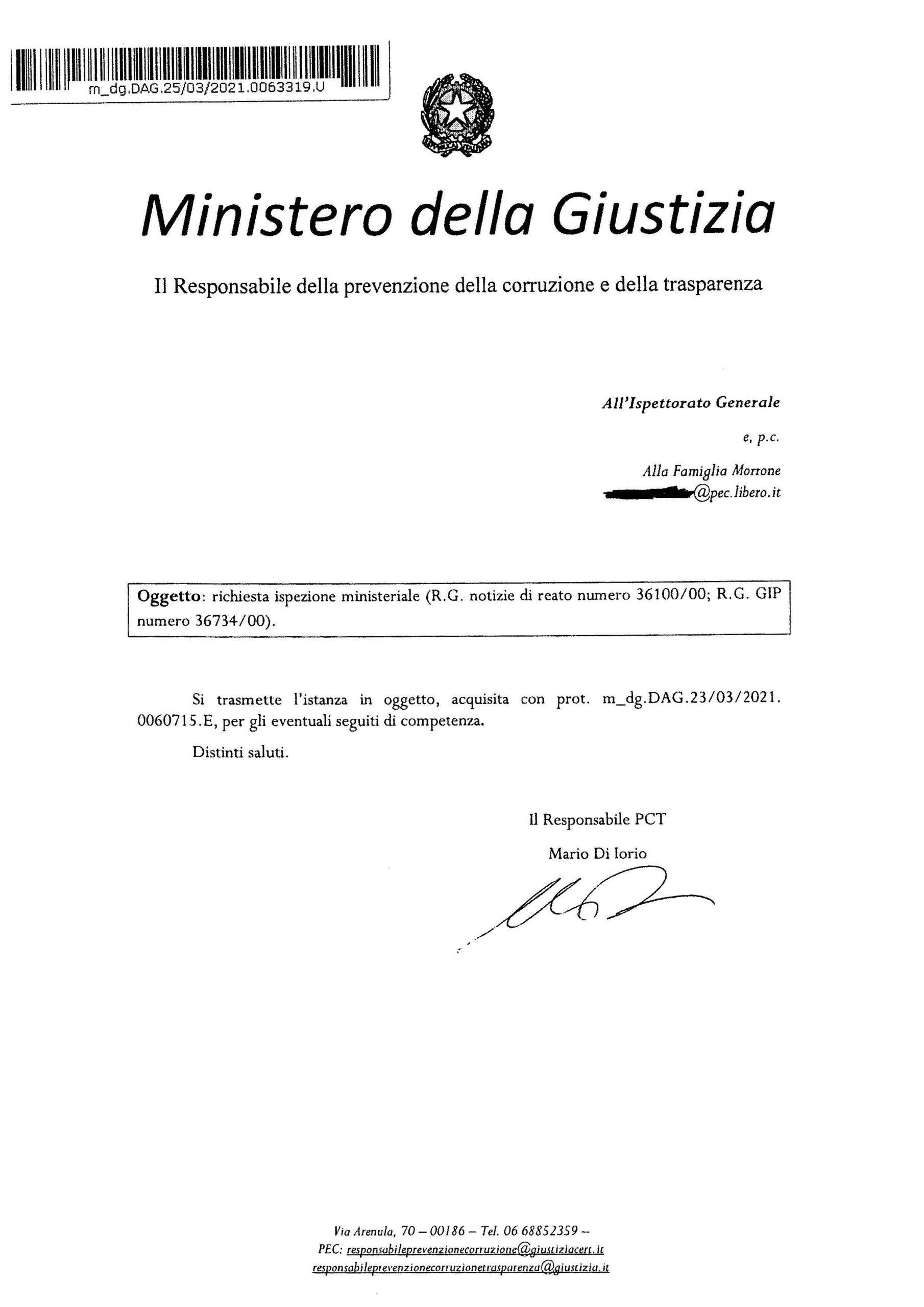 La richiesta di ispezione ministeriale nel Tribunale di Roma presentata dalla famiglia Morrone