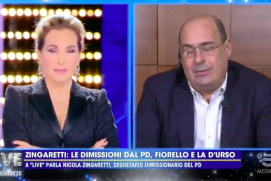 """Zingaretti da Barbara D'Urso sulle dimissioni dal Pd: """"Non scompaio, combatto con le mie idee"""""""