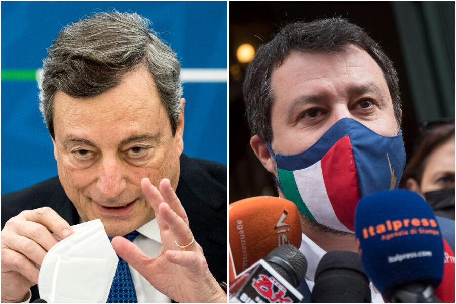 """Riaperture e zone rosse, scontro Draghi-Salvini. Il premier stronca le polemiche: """"Chiusure solo in base ai contagi"""""""